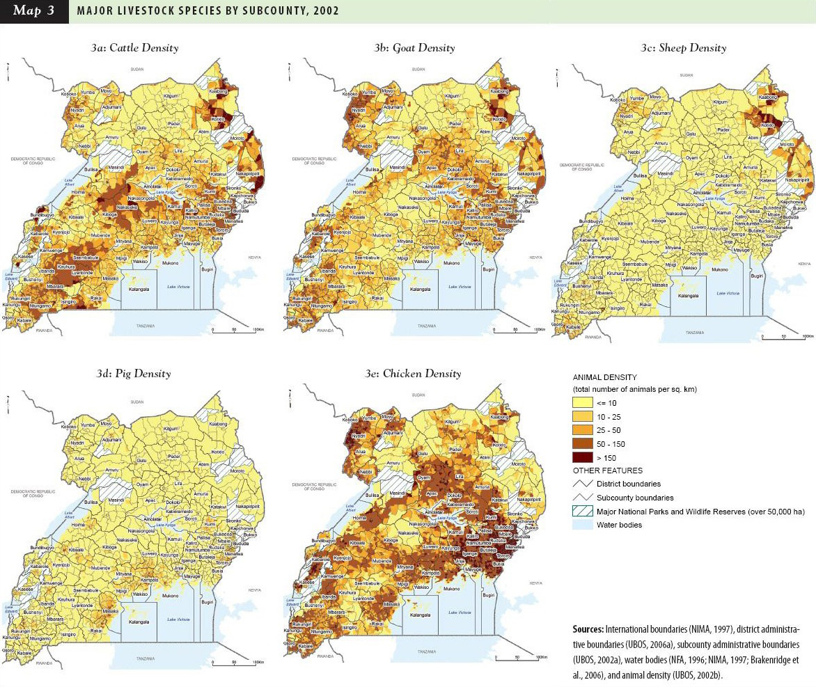 Uganda: Major Livestock Species by Subcounty, 2002 | World Resources ...