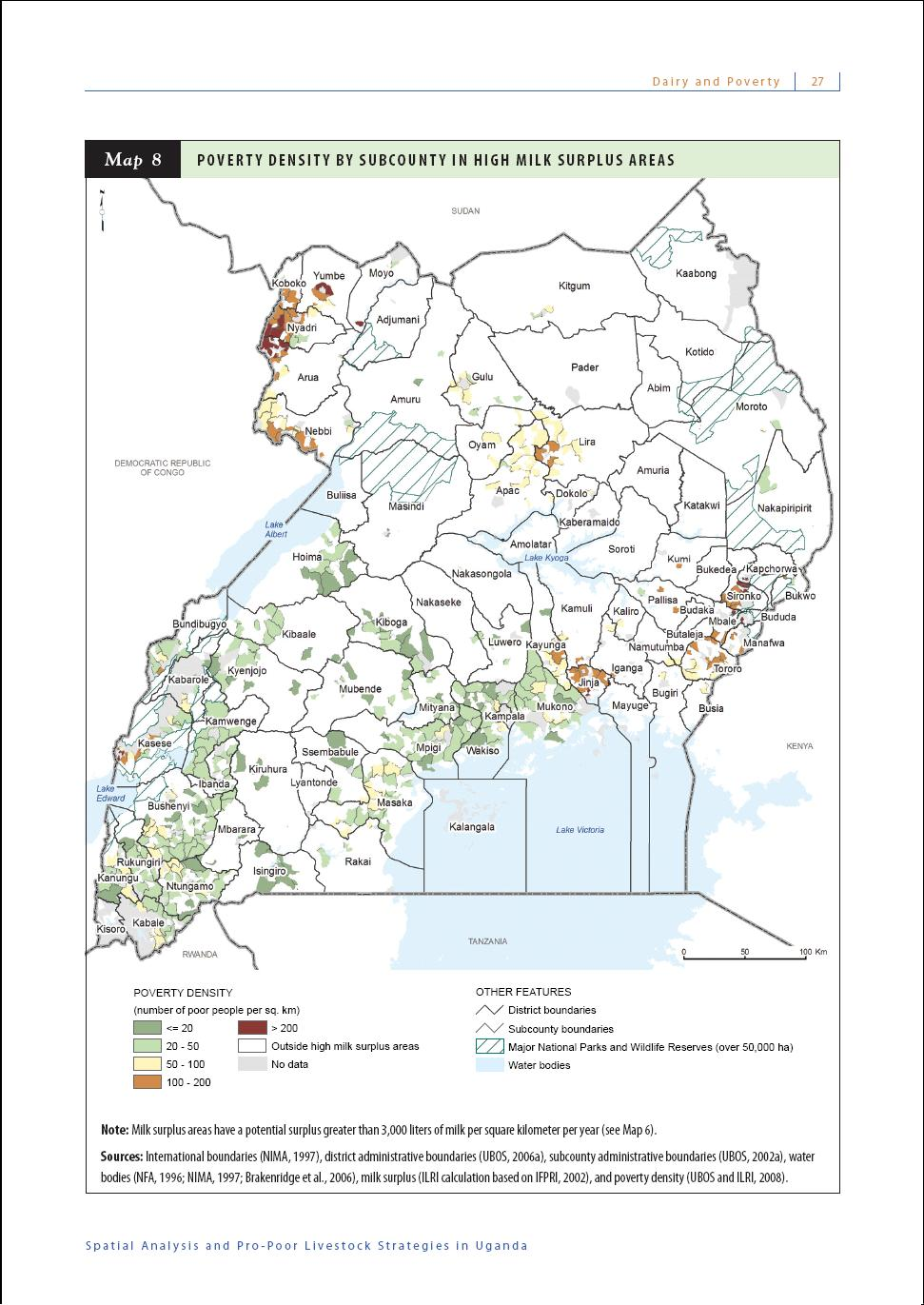 poverty density by subcounty in high milk surplus areas uganda