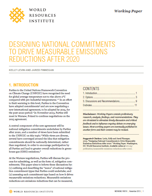 Designing National Commitments To Drive Measurable Emissions