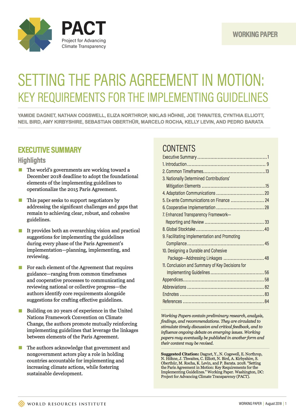 Setting The Paris Agreement In Motion Key Requirements For The