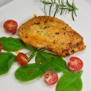 Roasted chicken on a dish