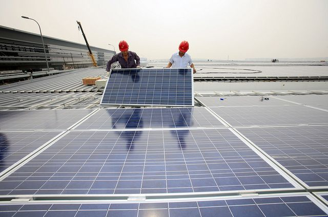 Solar photovoltaic panels in Shanghai, China