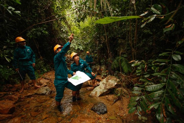 Patrolling a forest in Vietnam. Building countries' capacity to implement and monitor climate solutions is an important part of the Paris Agreement. Photo by Asian Development Bank.
