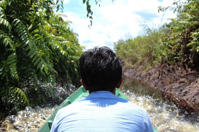 Traveling through canals to reach the Katingan Peatland Reserve. Flickr/WRI