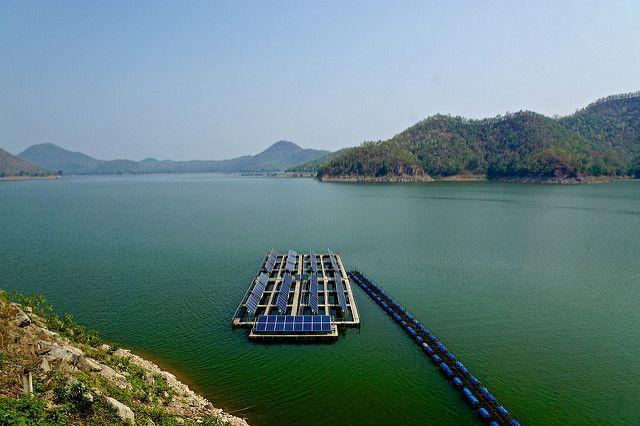 Solar panels on Srinakarin Lake, Kanchanaburi province, Thailand