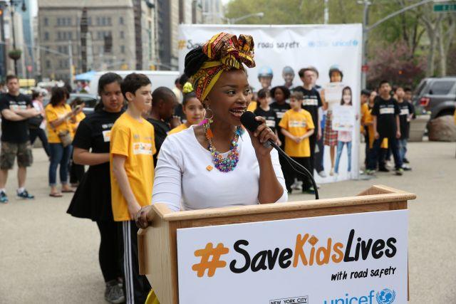 Zoleka Mandela speaking out at Global Road Safety Week. Photo by makeroadssafe/Flickr