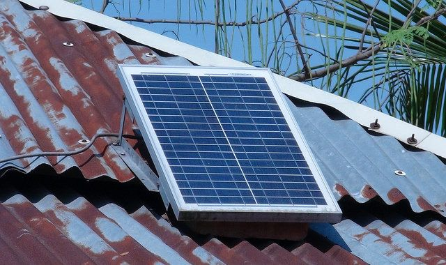 Rooftop solar panel in Khulna District, Bangladesh