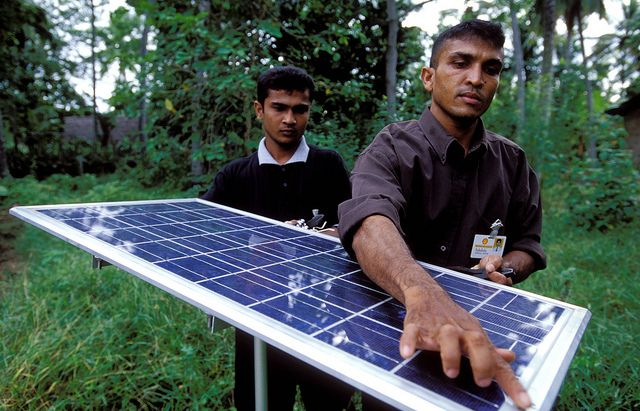 Solar panel on used for lighting village homes. Sri Lanka