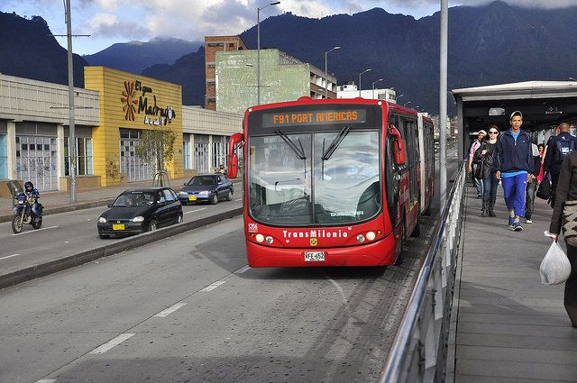 Bus Rapid Transit system in Bogota, Colombia.