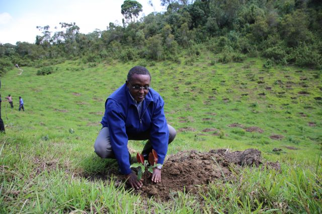 Minister of Environment Hon. Vincent Biruta at a restoration project in Rwanda. Flickr/LAFREC Project