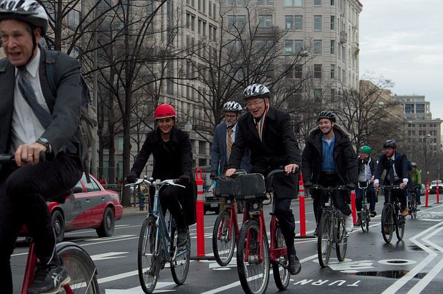 WRI's Andrew Steer and Claudia Adriazola on the Pennsylvania Avenue biketrack