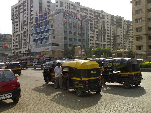Auto rickshaws outside office