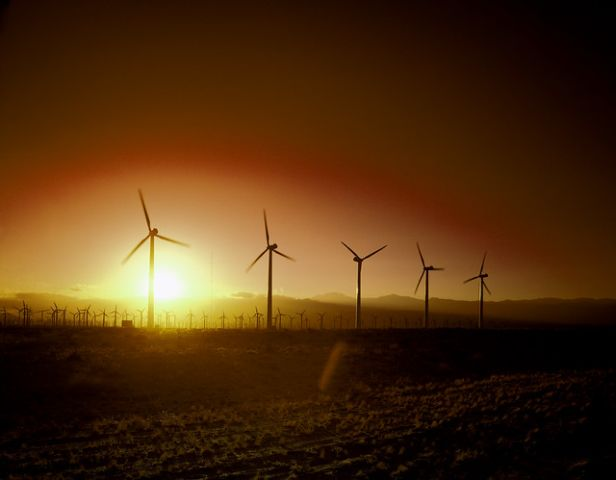 California wind turbines at sunset