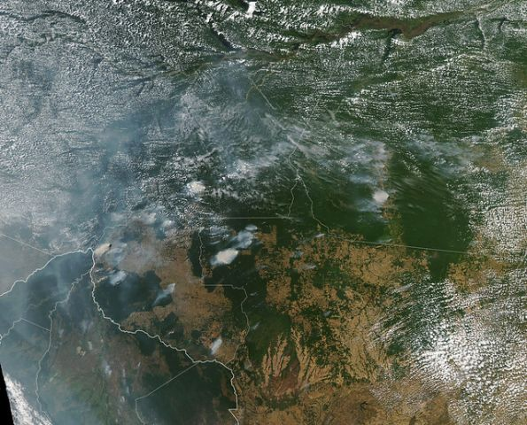 NASA view of fires in the Amazon rainforest