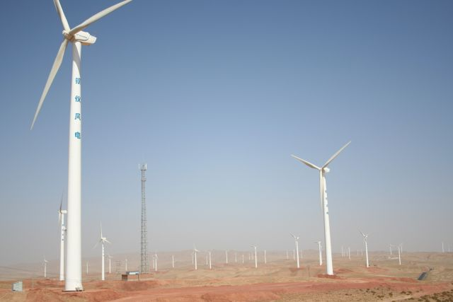 Wind turbines in Ningxia, China.