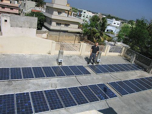 Rooftop solar array in India.