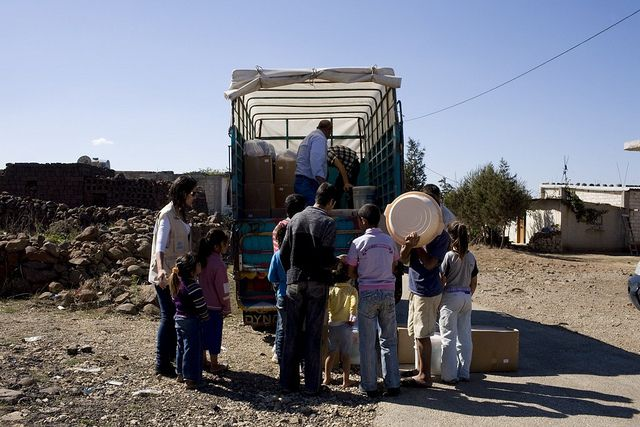 People loading truck