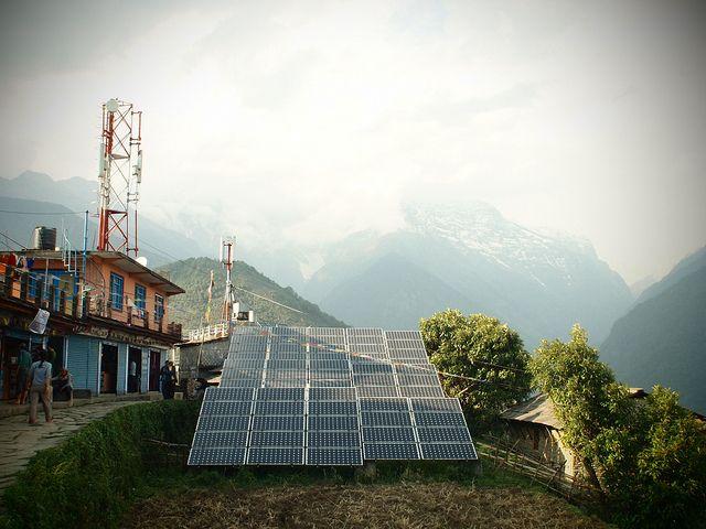 solar panels in Ghandruk, Nepal