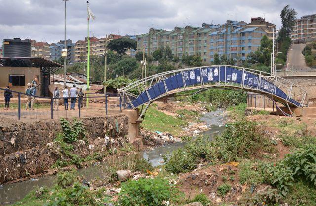 Bridge across creek in Kibera, Nairobi.