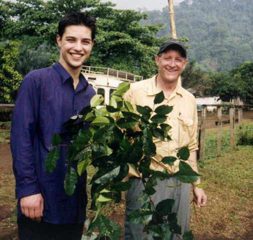 Daniel Vennard (left) poses with clippings from the shrub he discovered.