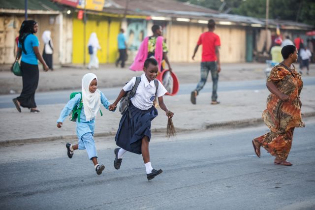 Children crossing street in Tanzania