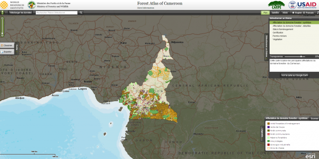Forest Atlas Of Cameroon World Resources Institute - Online interactive world map