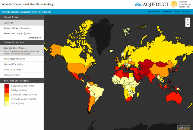 World Map Water.Aqueduct Country And River Basin Rankings World Resources Institute