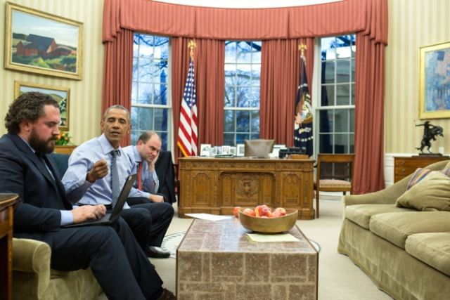President Barack Obama works on the State of the Union address with Cody Keenan and Ben Rhodes, in the Oval Office Jan. 11, 2016. Official White House Photo by Pete Souza