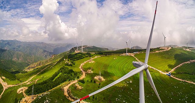 Panoramic view of wind farm