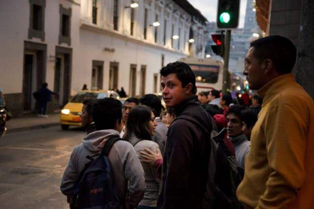 People on Quito street corner