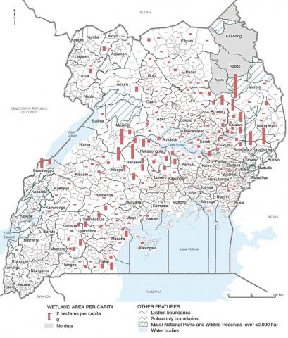 Uganda: Wetland Area Per Capita By Subcounty | World Resources ...