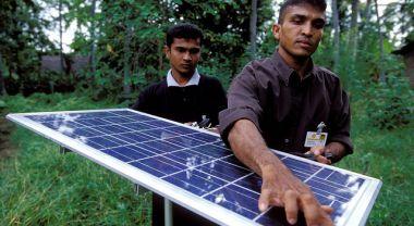 Solar panel on used for lighting village homes. Sri Lanka