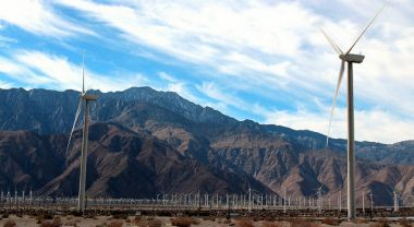 A wind farm in Palm Springs, California.