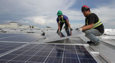 Solar installation is one of the many clean energy jobs of the future. Photo by Green Energy Futures/Flickr.