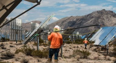 Solar workers cleaning panels. FLickr/National Renewable Energy Laboratory