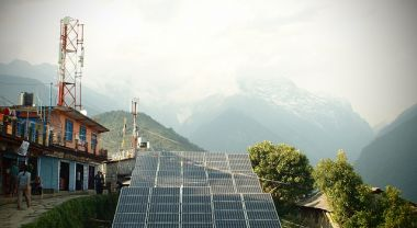 solar panels in Ghandruk, Nepal