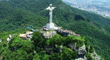 Christ the Redeemer statue in Tijuca National park, part of Brazil's Atlantic rainforest. Photo by Chico Mendes Conservation Institute.