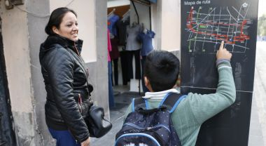 Pablo Bautista and his mother, Brenda, tracing their bus route