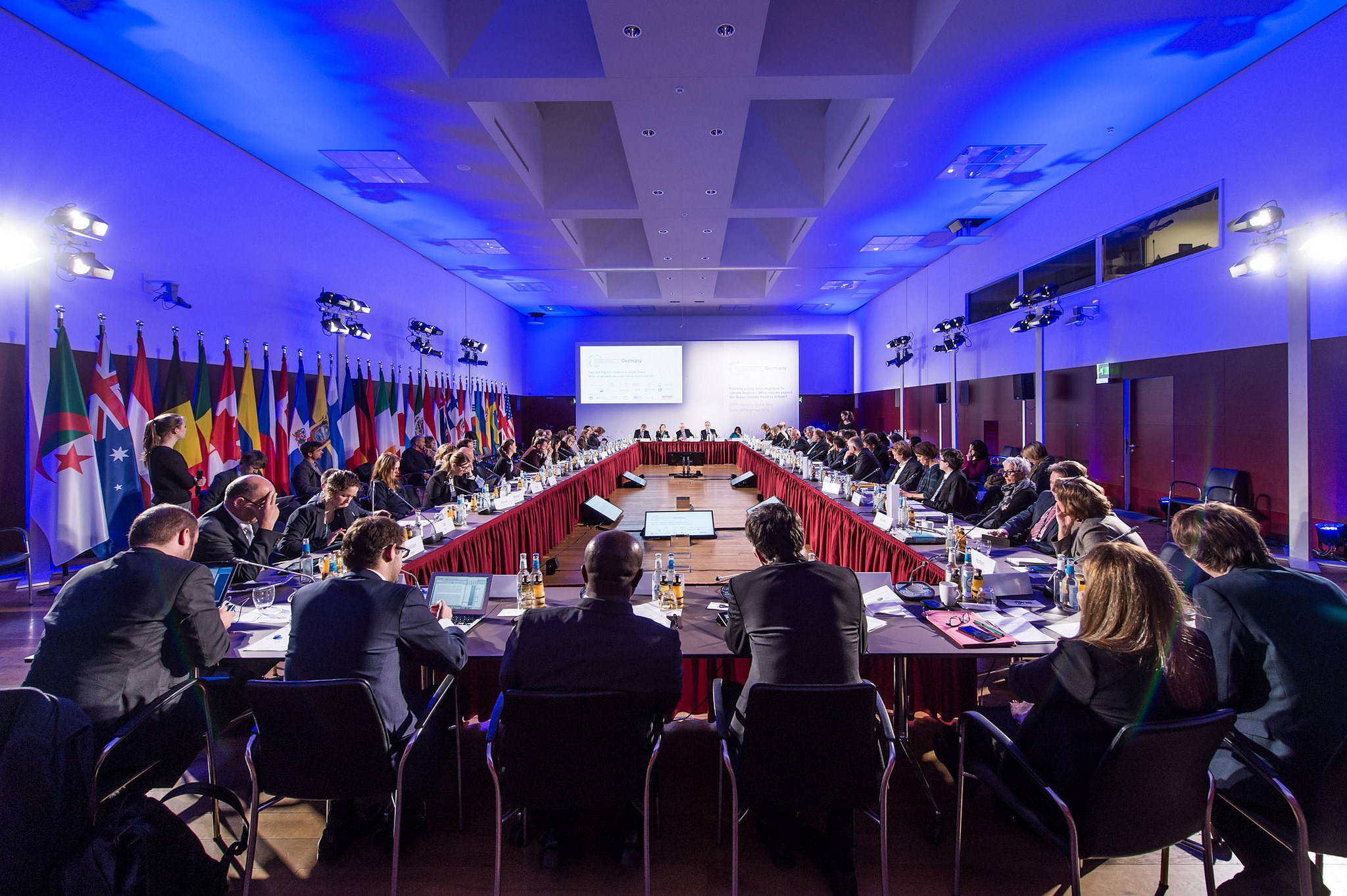 <p>2014 meetings yielded $10.3 billion pledged to the GCF. Flickr/German Development Institute</p>