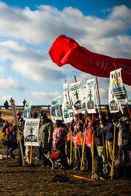 <p>Protesting the Dakota Access pipeline. Photo by Lucas Zhao/Flickr</p>