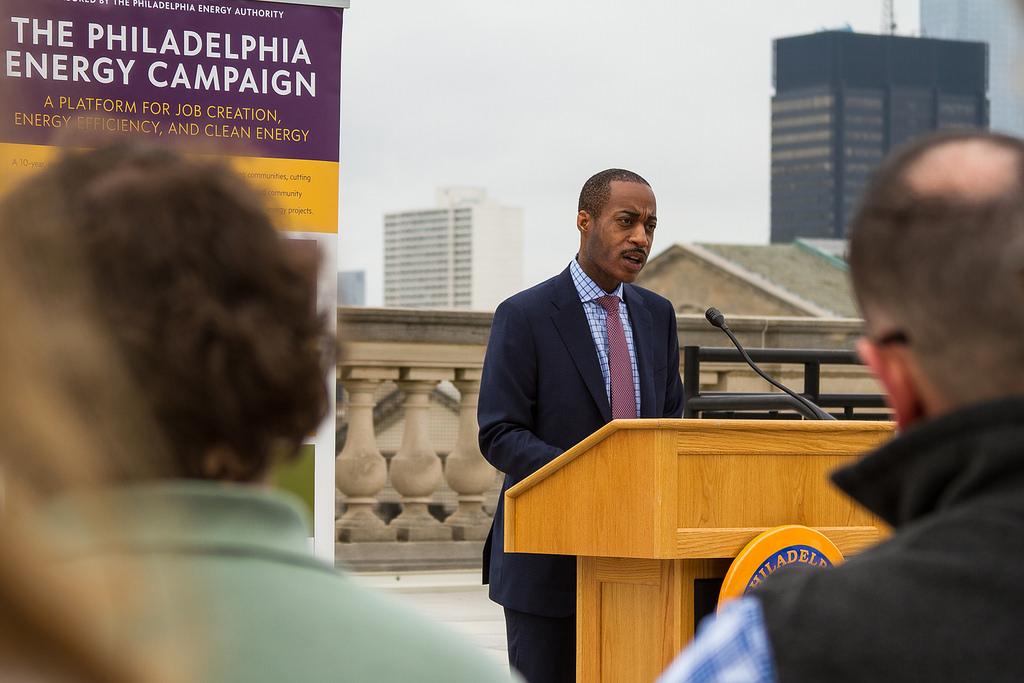 <p>Philadelphia leaders announce Solarize Philly as part of the $1 billion Philadelphia Energy Campaign. Flickr/Philadelphia City Council</p>