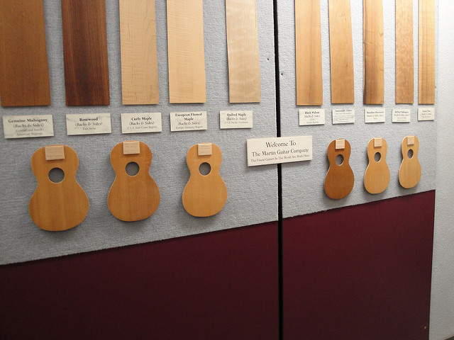"<p>Wood display at the C.F. Martin Guitar Factory in Pennsylvania. The ""Quilted Maple"" panel is cut from a bigleaf maple tree. Photo by Alex Harden/Flickr</p>"