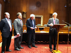 <p>Left to Right: Sen. Chris Coons (D-DE), Sen. Al Franken (D-MN), Sen. Bernie Sanders (I-VT), Sen. Jeff Bingaman (D-NM) at the introduction of the Clean Energy Standard Act. Photo credit: World Resources Institute</p>