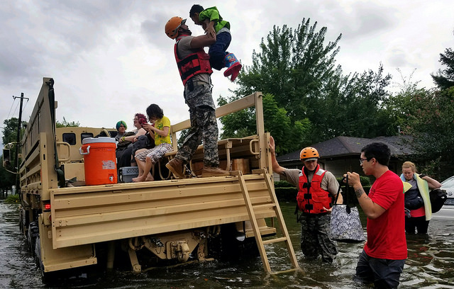 <p>Texas Army National Guard rescue Houston residents as floodwaters from Hurricane Harvey continue to rise, Aug. 28, 2017. U.S. Department of Defense/Flickr</p>
