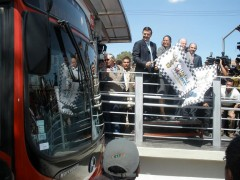 <p>Mayor Marcel Ebrard of Mexico City launches the new BRT line</p>