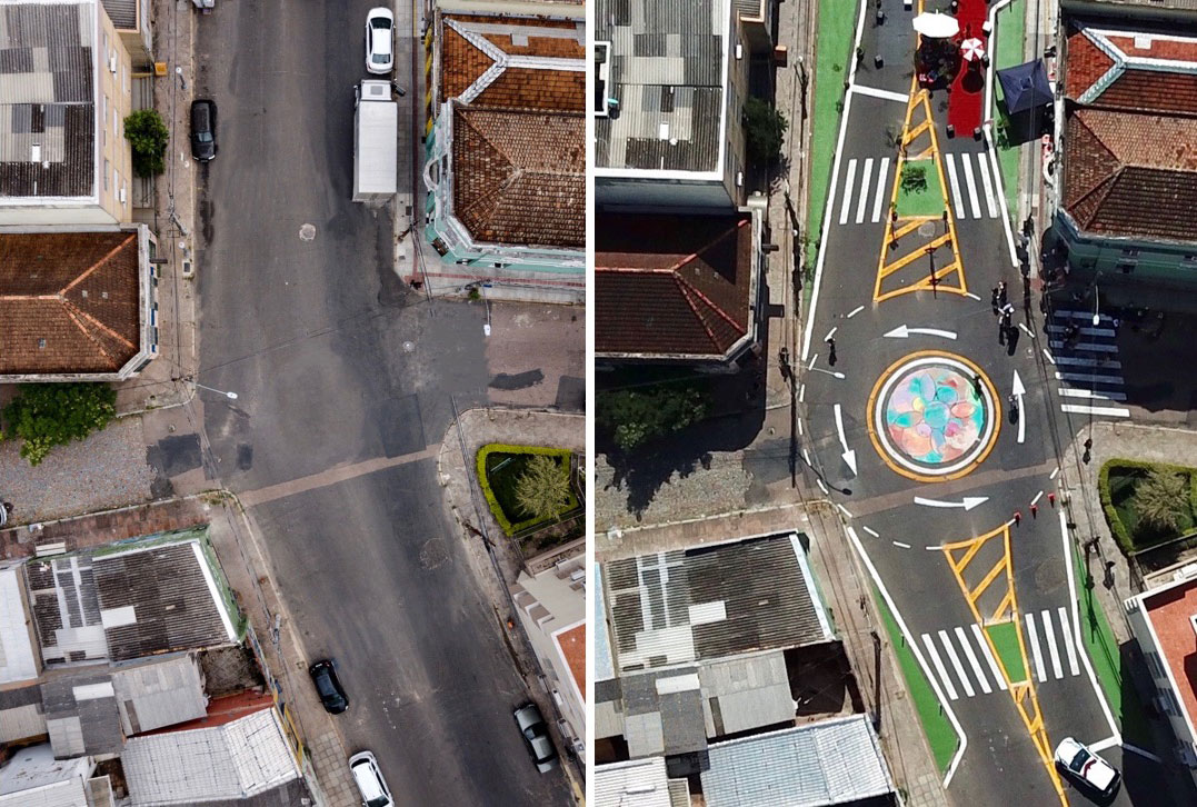 "<p>The João Alfredo Street intersection in Porto Alegre, Brazil, before and after a ""complete streets"" intervention. Photo by WRI Brasil</p>"