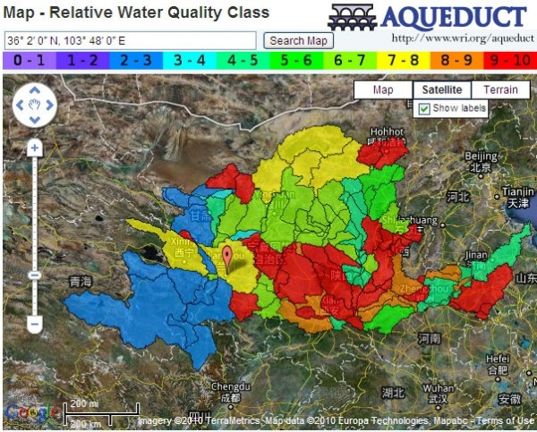 <p>\'The Water Risk Atlas' interactive map of water risk in the Yellow River basin in China.</p>