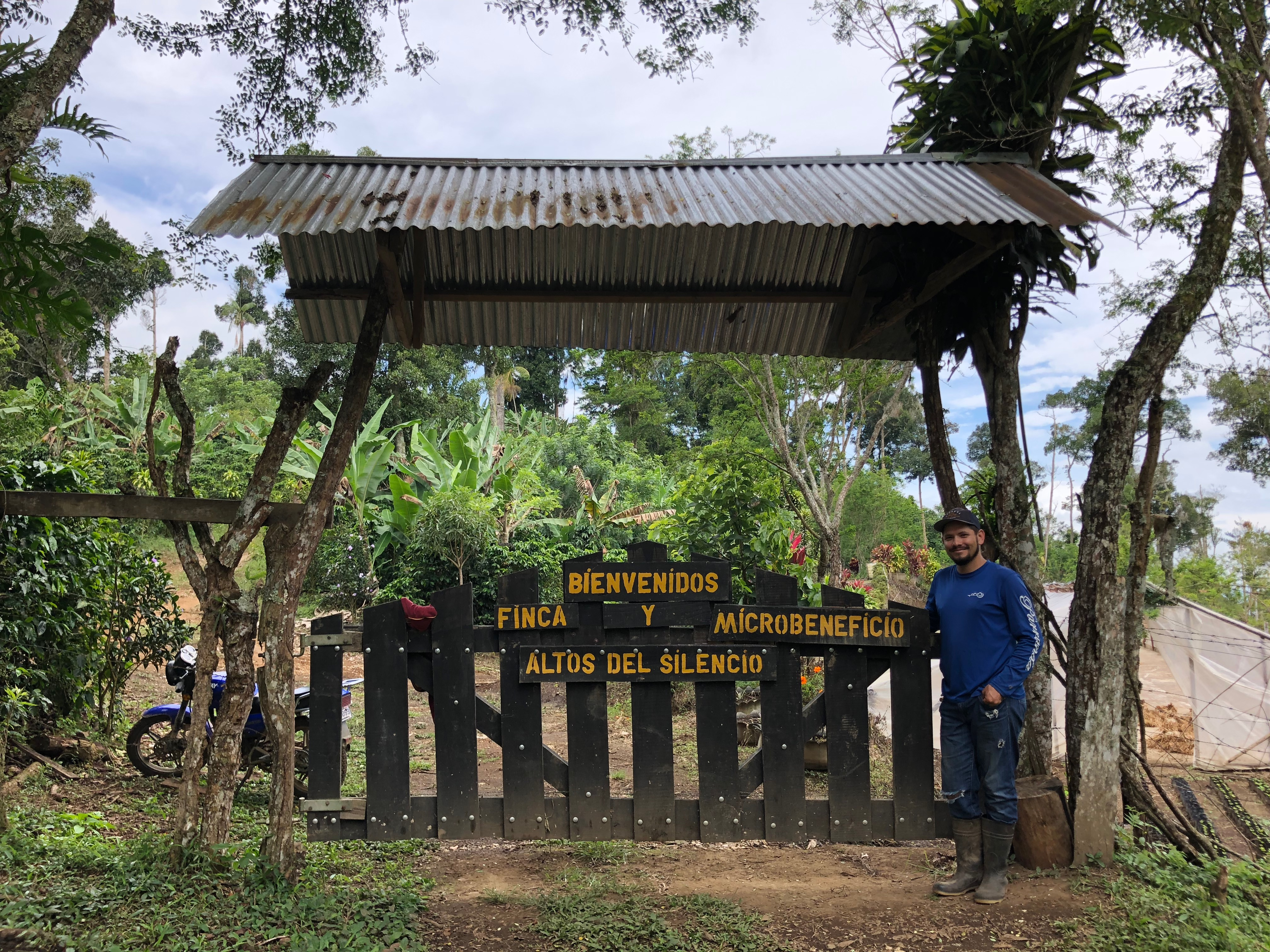 <p>Don Lainekel Zamora Gómez at the entrance to his coffee farm. Coffee is an important part of the economy in Coto Brus, Costa Rica. Photo by Stefanie Tye</p>