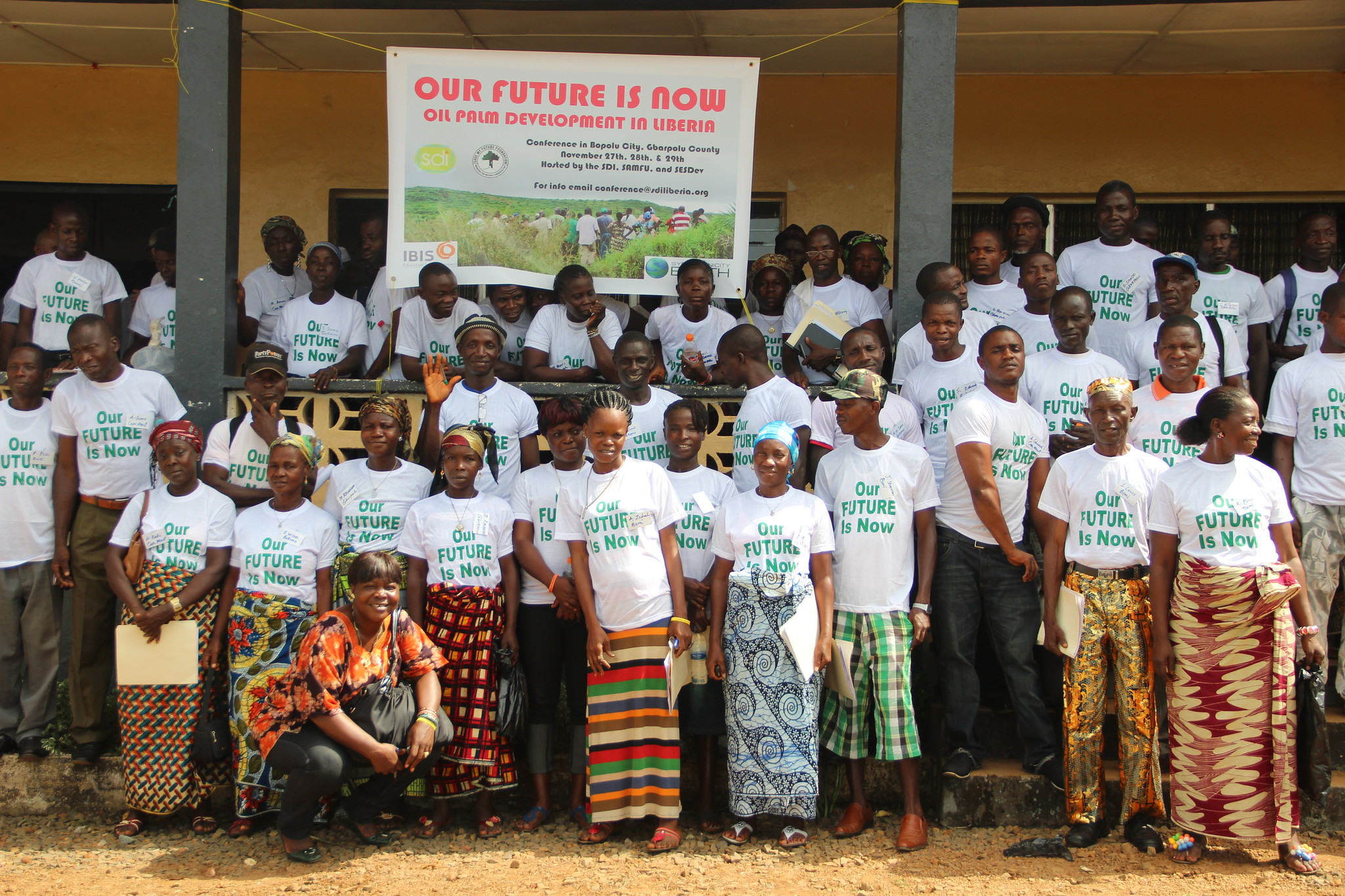 <p>People from Liberia\'s Gbarpolu County at a conference to discuss palm oil plantations in their communities. Photo by Friends of the Earth International.</p>