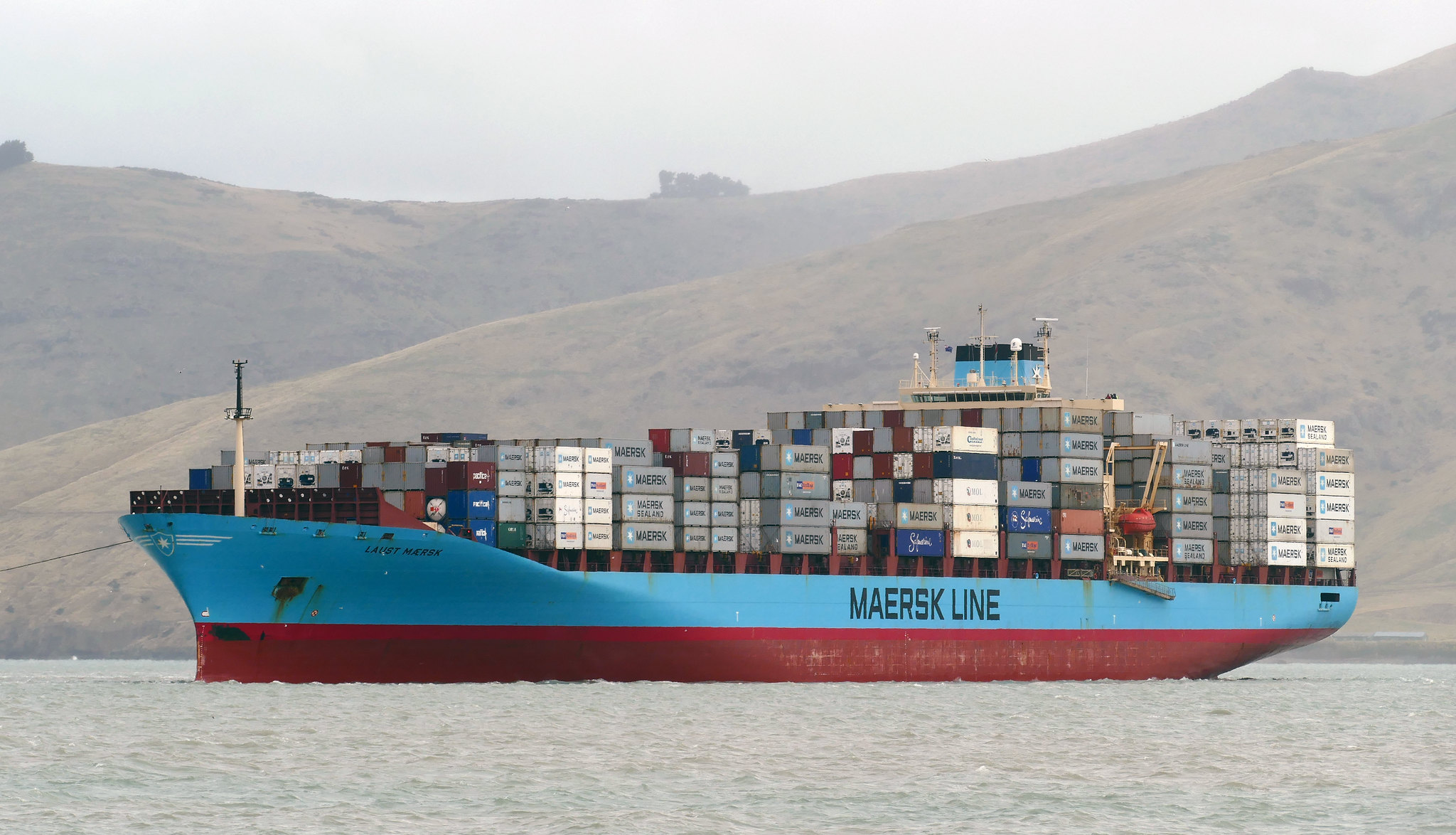<p>Maersk, the world\'s largest container ship company, pledged carbon neutrality by 2050. Photo by Bernard Spragg/Flickr</p>